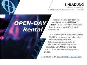 Coda CODA AUDIO Deutschland Open Day: Rental (in German language)